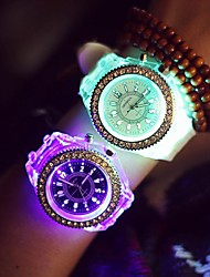 Women's Fashion Watch Wrist watch Quartz LED Luminous Noctilucent Silicone Band Sparkle Cool Casual Black White
