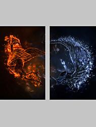 economico -Animali / Fantasia Print Canvas Due pannelli Pronto da appendere , Verticale