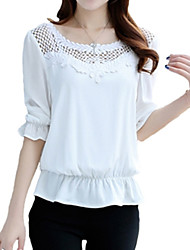 Women's Casual/Daily Plus Size / Street chic Summer Blouse,Solid Round Neck ½ Length Sleeve Pink / White Polyester Thin
