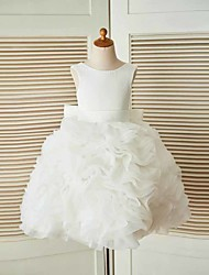 cheap -A-Line Knee Length Flower Girl Dress - Organza Satin Sleeveless Jewel Neck with Sash / Ribbon by LAN TING BRIDE®