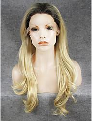 Недорогие -Синтетические кружевные передние парики Естественные волны Блондинка Искусственные волосы Темные корни / Природные волосы Блондинка Парик Жен. Лента спереди Отбеливатель Blonde