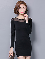 cheap -Women's Plus Size Street chic Bodycon Little Black Dress - Solid Colored, Mesh