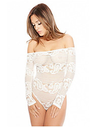 Women's Off The Shoulder|Lace Boat Neck Off the Shoulder Solid Lace Translucent Sexy Lingerie Briefs Thong Long Sleeve Mesh Jumpsuits