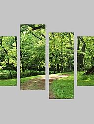 Недорогие -Наборы холстов Пейзаж 4 панели Вертикальная Декор стены Украшение дома