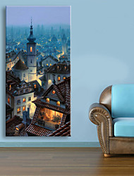 cheap -E-HOME® Stretched LED Canvas Print Art The Ancient City LED Flashing Optical Fiber Print One Pcs