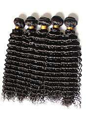 Cabelo Humano Cabelo Brasileiro Cabelo Humano Ondulado Ondas Médias Cacheado Extensões de cabelo 4 Peças Preto