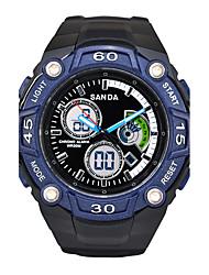 SANDA Men's Smart Watch Digital Watch Wrist watch Japanese Quartz Calendar Alarm Stopwatch Noctilucent Silicone Band Black