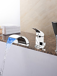 Modern Tub LED/ Waterfall/ Handshower Included with Ceramic Valve 1-Handle 3-Holes for Chrome  Bathtub Faucet