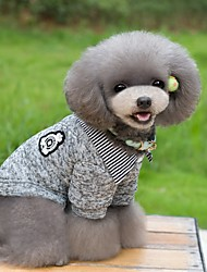 preiswerte -Katze Hund T-shirt Pullover Hundekleidung warm halten Modisch Streifen Dunkelblau Grau Kostüm Für Haustiere