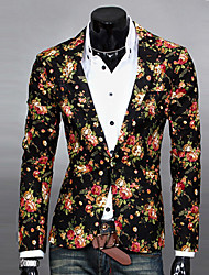 cheap -Men's Casual Work Spring Fall Regular Blazer, Print Cotton Polyester