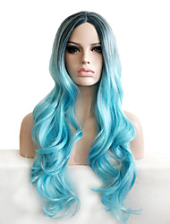 Synthetic Wigs Natural Long Curly Black/Blue Ombre Cosplay Capless Wig for Women