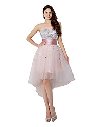 cheap -A-Line Sweetheart Neckline Knee Length Tulle Cocktail Party Dress with Sequin by