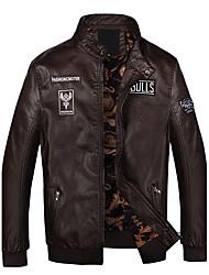 мужская мода зима pu падающая куртка, твердая подставка с длинными рукавами