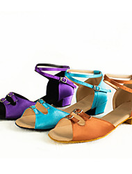 cheap -Latin Shoes Satin Heel Buckle Cuban Heel Non Customizable Dance Shoes Purple / Brown / Light Blue / Indoor / Leather