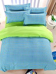 bedtoppings consolatore copripiumino trapunta 4pcs set matrimoniale lamiera piana federa verde motivo di controllo blu stampa in microfibra
