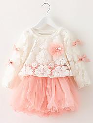 preiswerte -Mädchen Kleid Ausgehen einfarbig Baumwolle Frühling Herbst Lange Ärmel