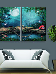 cheap -E-HOME® Stretched LED Canvas Print Art Lin Small Lake Scenery LED Flashing Optical Fiber Print Set of 2