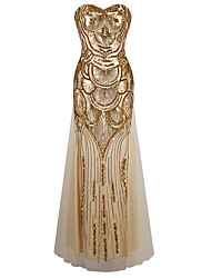 Sheath / Column Sweetheart Floor Length Polyester Formal Evening Dress with Sequins