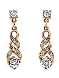 abordables -Pendientes colgantes Zirconio Chapado en Oro La imitación de diamante estilo de Bohemia Elegant Forma Geométrica Dorado JoyasFiesta