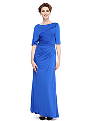 Sheath / Column Bateau Neck Ankle Length Jersey Mother of the Bride Dress with Side Draping by LAN TING BRIDE®