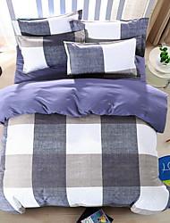 Bedtoppings Comforter Duvet Quilt Cover 4pcs Set Queen Size Flat Sheet Pillowcase Cheque Prints Microfiber