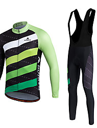 cheap -Miloto Cycling Jersey with Bib Tights Men's Unisex Long Sleeves Bike Clothing Suits Thermal / Warm Quick Dry Fleece Lining Moisture