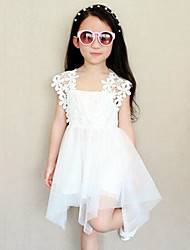 Girl's Casual/Daily Solid DressCotton / Polyester Summer White