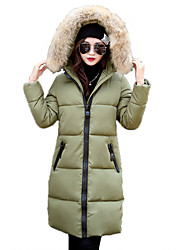 Women's Solid Color Long Slim Big Fur Collar Padded Coat Simple / Street chic Hooded Long Sleeve
