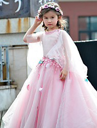 Ball Gown Floor Length Flower Girl Dress - Tulle Charmeuse 3/4 Length Sleeves Jewel Neck with Flower