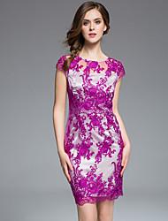 masa das mulheres plus size / sair chinoiserie / bodycon sofisticada dressembroidered em torno do pescoço