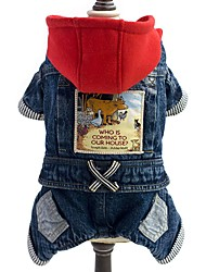Dog Clothes/Jumpsuit Denim Jacket/Jeans Jacket Dog Clothes Winter Spring/Fall Jeans Fashion Cowboy Blue
