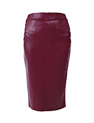 Women's Solid Thicken Comfort Over Hip Skirts , Bodycon / Casual Knee-length