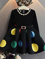 preiswerte -Mädchen Kleid Lässig/Alltäglich Punkt Baumwolle Kunstseide Frühling Herbst Langarm Punkt Schwarz