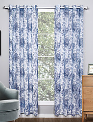 Grommet Top Two Panels Curtain Modern , Print Living Room Polyester Material Sheer Curtains Shades Home Decoration