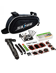 SAHOO 15 in 1 Cycling Bicycle Tools Bike Repair Kit Set with Pouch Pump Black