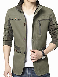 cheap -Men's Long Sleeve Casual / Work Jacket Coat Cotton / Polyester Fashion Solid Regular Sipper / Single Breasted Outerwear