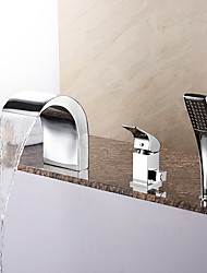 New Arrival Tub Waterfall / Handshower Included with Ceramic Valve 1-Handle 3-Holes for Chrome  Bathtub Faucet