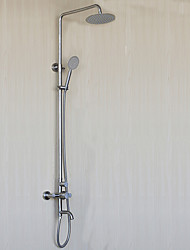 cheap -Stainless steel Shower System Rain Shower Two Handles Nickel Brushed Shower Set With Shower head and Handle Shower