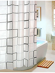 cheap -Shower Curtains Modern PEVA Plaid Machine Made