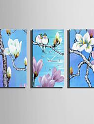 Rechteckig Modern/Zeitgenössisch Wanduhr , Anderen Leinwand 30 x 60cm(12inchx24inch)x3pcs/ 40 x 80cm(16inchx32inch)x3pcs