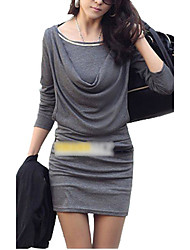 cheap -Women's Casual Sheath Dress - Solid Colored, Ruched Mini