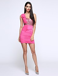 Women's Sequin/Backless Club Bodycon Dress,Patchwork One Shoulder Knee-length Sleeveless Blue/Pink/Red/White/Black/Yellow Polyester All Seasons