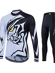 cheap -Fastcute Men's Women's Long Sleeves Cycling Jersey with Tights - Black Bike Tights Jersey Clothing Suits, 3D Pad, Quick Dry, Breathable,