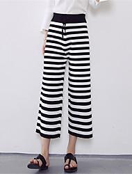 Women's Fine Stripe Striped Black Wide Leg PantsSimple
