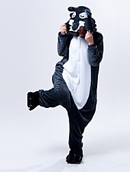 cheap -Kigurumi Pajamas Wolf Onesie Pajamas Costume Polar Fleece Ink Blue Cosplay For Adults' Animal Sleepwear Cartoon Halloween Festival /