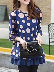 Mulheres Blusa Casual Simples / Moda de Rua Verão,Poá Azul / Preto Poliéster Decote Redondo Manga ¾ Fina