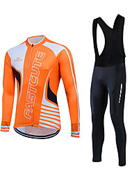 cheap -Fastcute Men's Long Sleeves Cycling Jersey with Bib Tights - Orange Blue Bike Clothing Suits, Thermal / Warm