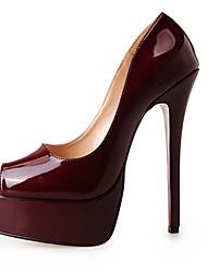 Homme-Soirée & Evénement-Noir Rouge Bordeaux Pêche-Talon Aiguille Plateforme-A Plateau-Chaussures à Talons-Similicuir