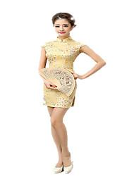 cheap -One-Piece Short Sleeve Medium Length Green / Yellow Lolita Dress Polyester Cheongsam