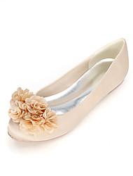 preiswerte -Damen Schuhe Satin Frühling Sommer Komfort Hochzeit Schuhe Null Flacher Absatz Runde Zehe Null Imitationsperle für Hochzeit Party &